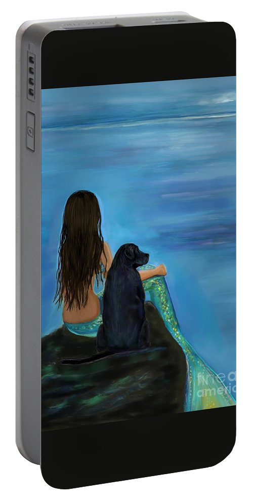 Mermaid Portable Battery Charger featuring the painting Mermaids Loyal Bud by Leslie Allen