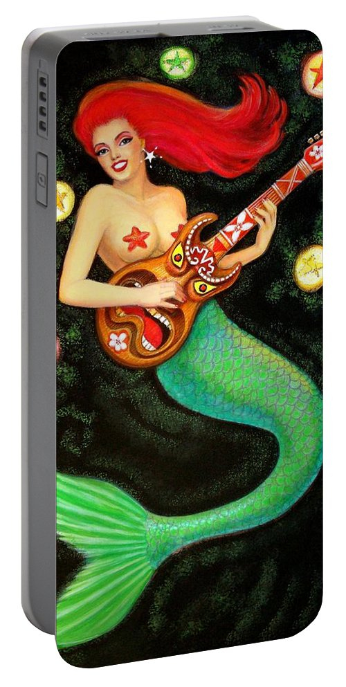 Mermaid Portable Battery Charger featuring the painting Mermaids Rock Tiki Guitar by Sue Halstenberg