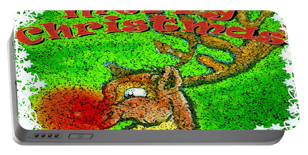 Merry Christmas Portable Battery Charger featuring the greeting card Merry Christmas Reindeer by Kevin Middleton