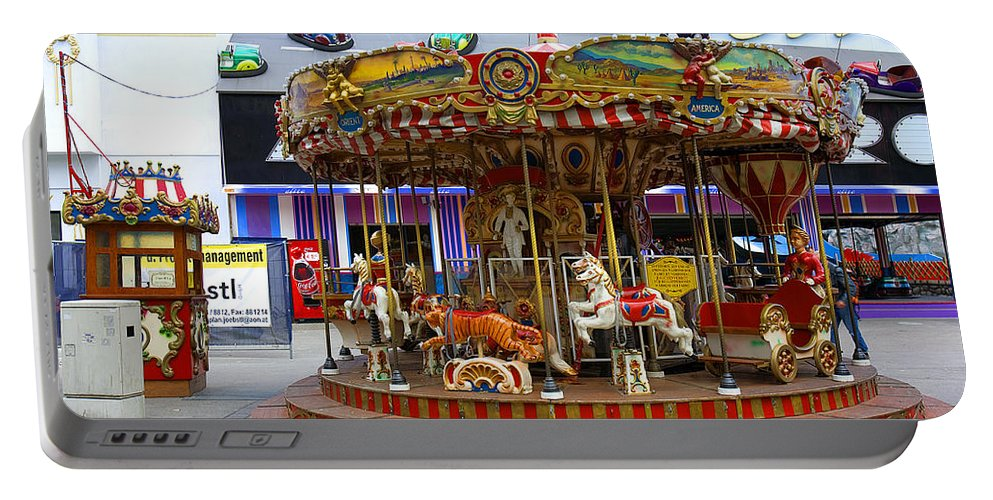 Merry-go-round Portable Battery Charger featuring the photograph Merry-go-round At The Prater by Madeline Ellis