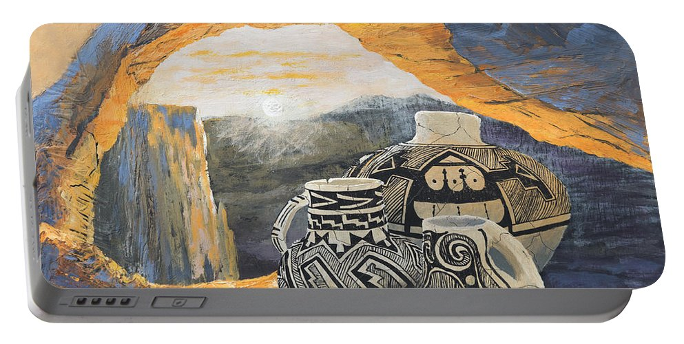 Native American Portable Battery Charger featuring the painting Mesa Arch Magic by Jerry McElroy