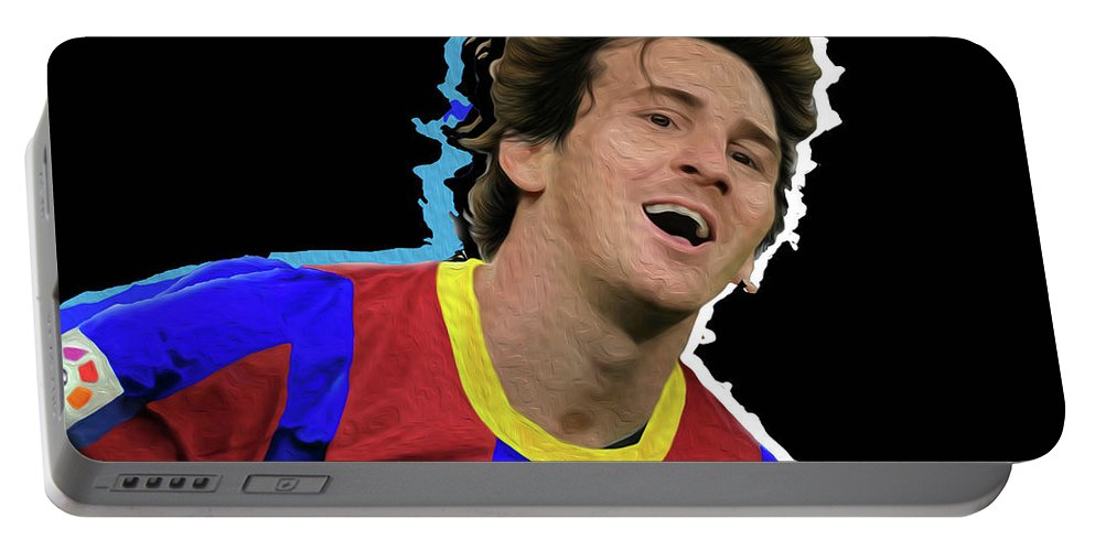 Messi Painting By By Nicholas Nixo Efthimiou Portable Battery Charger featuring the painting Messi 3498 By Nicholas Nixo Efthimiou by Supreme Inc