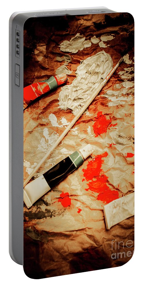 Nobody Portable Battery Charger featuring the photograph Messy Painters Palette by Jorgo Photography - Wall Art Gallery