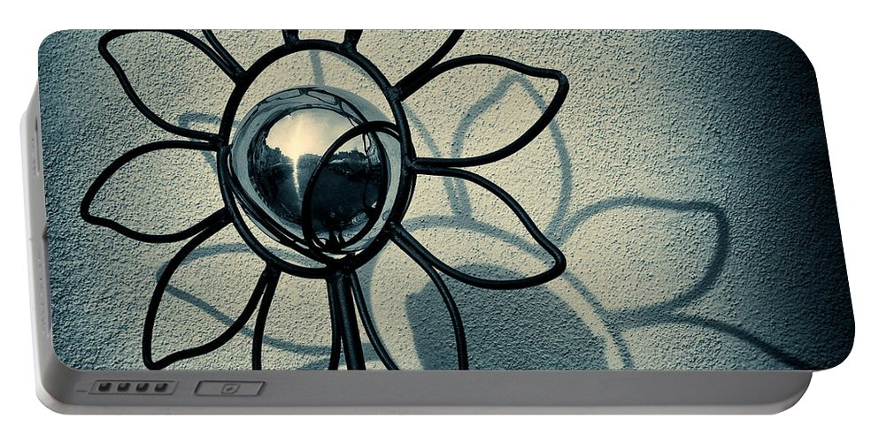 Sunflower Portable Battery Charger featuring the photograph Metal Flower by Dave Bowman