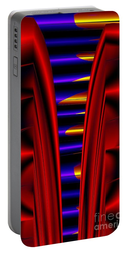 Metal Portable Battery Charger featuring the digital art Metal Ribs by Ron Bissett