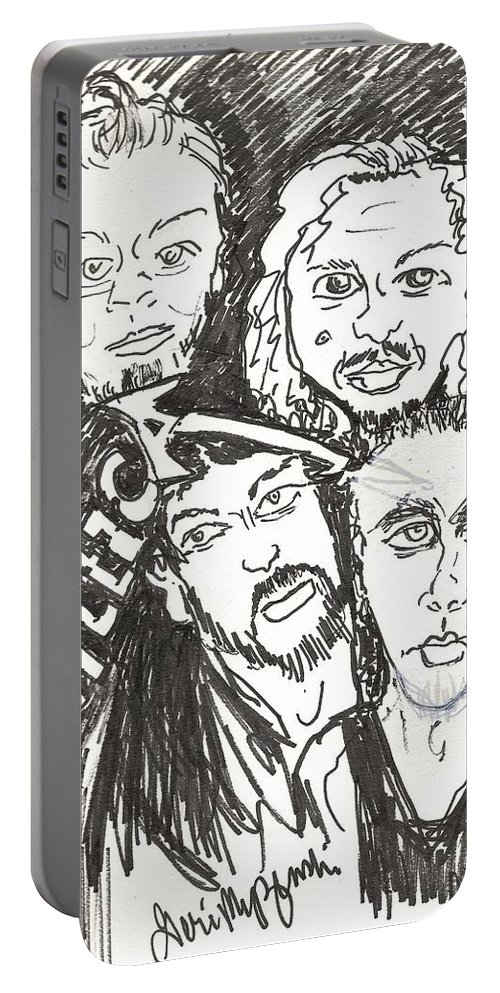 Metallica Portable Battery Charger featuring the drawing Metallica by Geraldine Myszenski