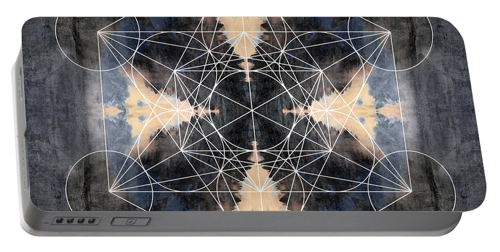 Metadron Portable Battery Charger featuring the digital art Metatron's Cube J by Filippo B