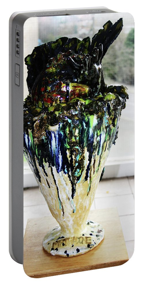 Jesus Portable Battery Charger featuring the sculpture Methadone Explosion View One by Gloria Ssali