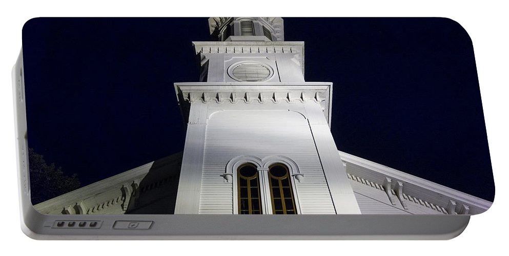 Church Portable Battery Charger featuring the photograph Methodist Steeple by David Stone