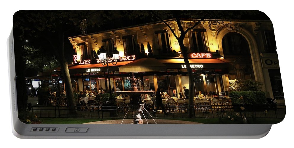 Paris Cafe Portable Battery Charger featuring the photograph Metro Cafe Paris by Andrew Fare