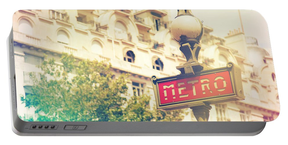 Angle Portable Battery Charger featuring the photograph Metro Sign Paris Shabby Chic by Sandra Rugina