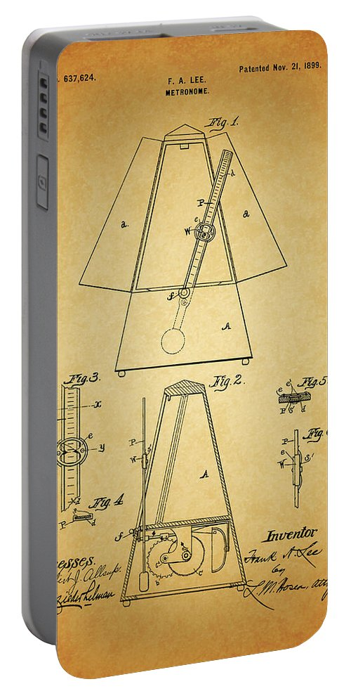Metronome Patent Portable Battery Charger featuring the drawing Metronome Patent by Dan Sproul