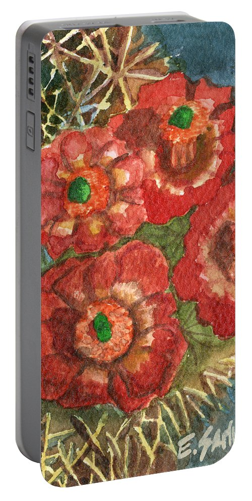 Orange Portable Battery Charger featuring the painting Mexican Pincushion by Eric Samuelson