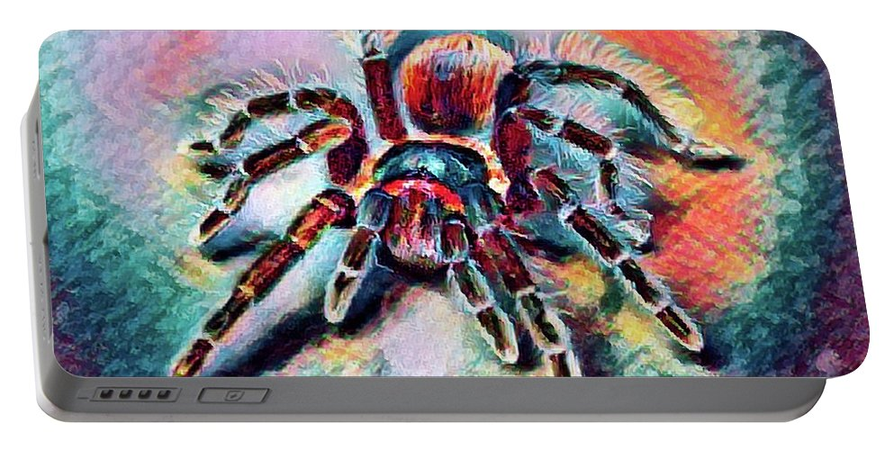 Abstract Portable Battery Charger featuring the photograph Mexican Red Knee Tarantula by Robert Kinser