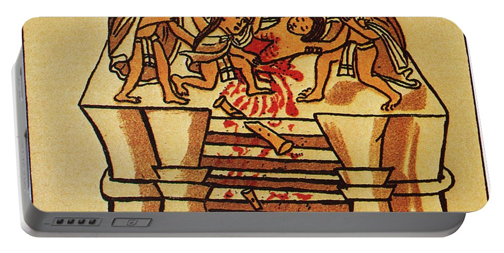 16th Century Portable Battery Charger featuring the photograph Mexico: Aztec Sacrifice by Granger