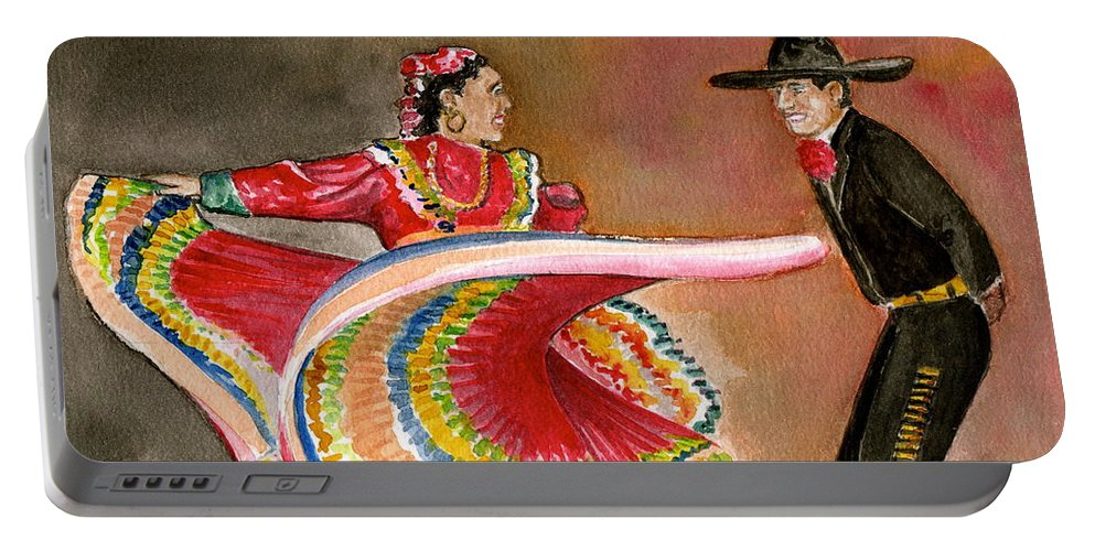 Mexico City Ballet Folklorico Swirling Dress Black Mens Outfit Dance Portable Battery Charger featuring the painting Mexico City Ballet Folklorico by Frank Hunter