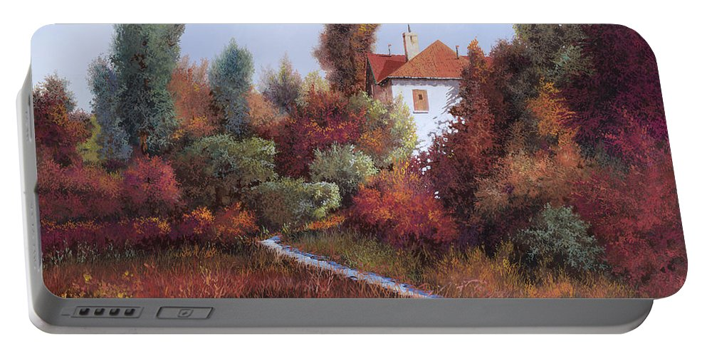 Landscape Portable Battery Charger featuring the painting Mezza Bicicletta Nel Bosco by Guido Borelli