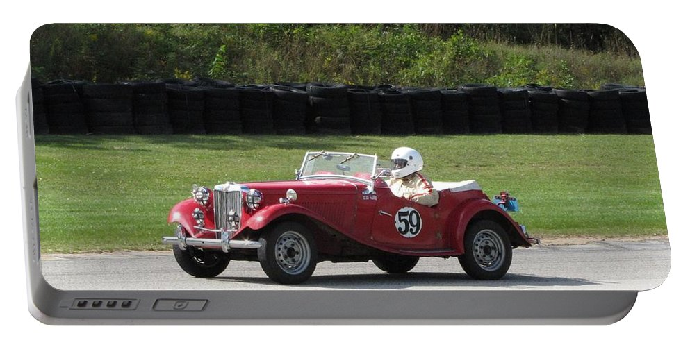 Car Portable Battery Charger featuring the photograph Mg Tc Racer by Neil Zimmerman