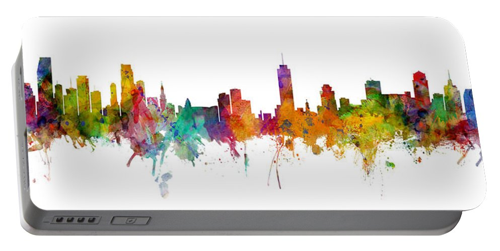 Miami Portable Battery Charger featuring the digital art Miami And Nashville Skylines Mashup by Michael Tompsett