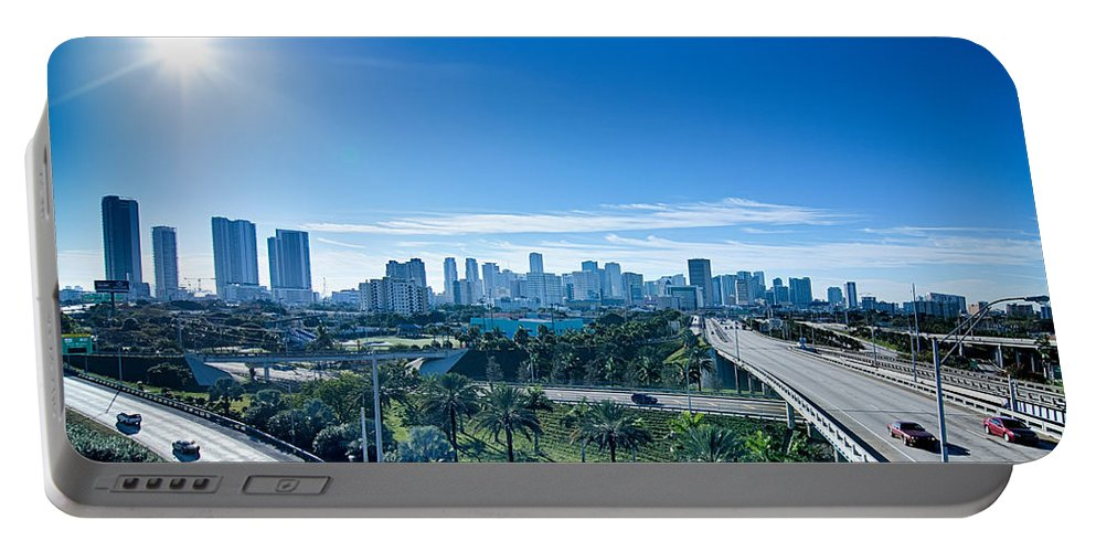 Miami Portable Battery Charger featuring the photograph Miami Florida City Skyline And Streets by Alex Grichenko