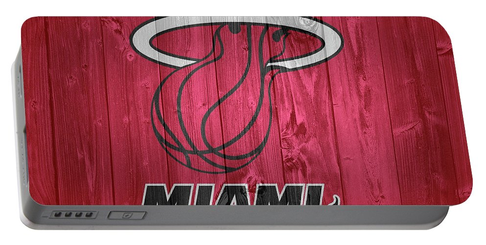 Miami Heat Barn Door Portable Battery Charger featuring the photograph Miami Heat Barn Door by Dan Sproul