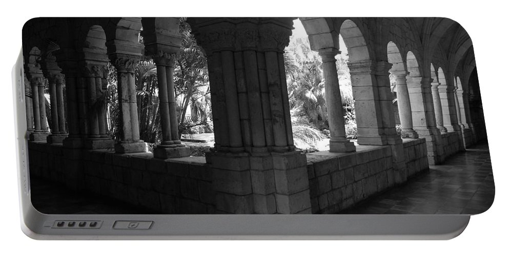 Black And White Portable Battery Charger featuring the photograph Miami Monastery In Black And White by Rob Hans