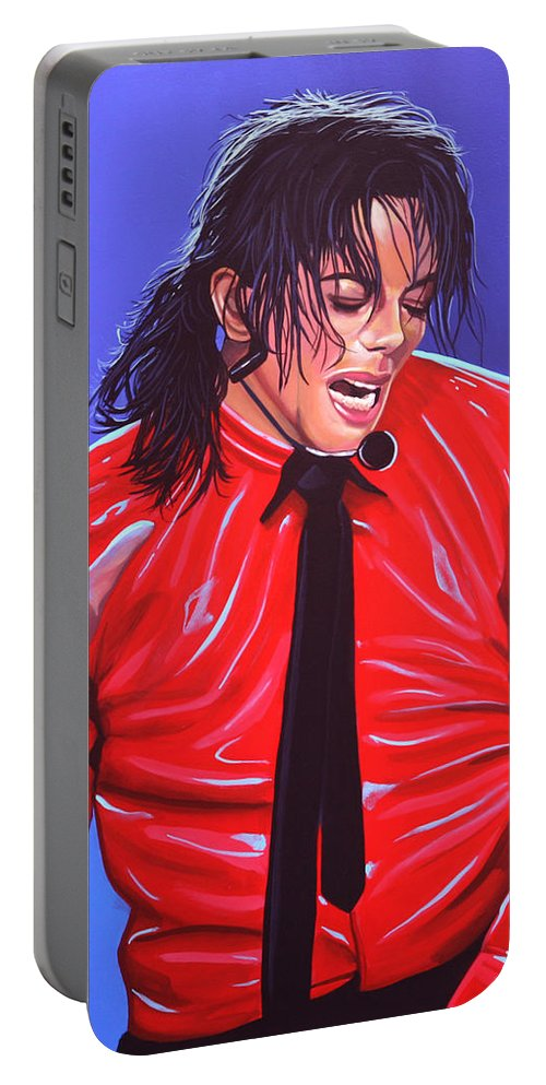 Michael Jackson Portable Battery Charger featuring the painting Michael Jackson 2 by Paul Meijering