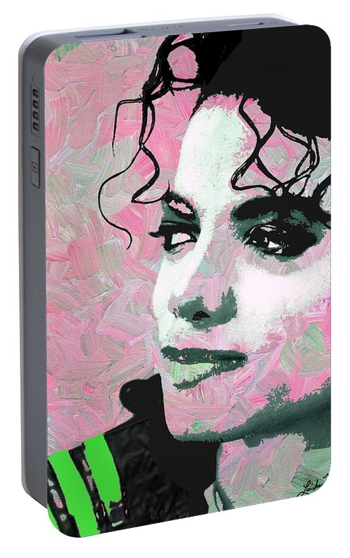 Michael Jackson Portable Battery Charger featuring the digital art Michael Jackson Pink by Linda Mears
