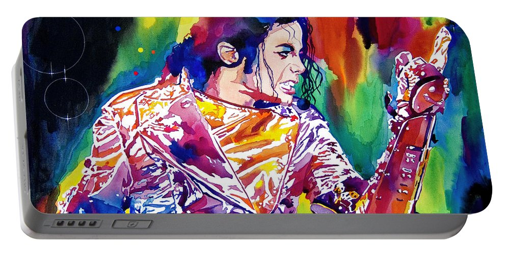 Michael Jackson Portable Battery Charger featuring the painting Michael Jackson Showstopper by David Lloyd Glover
