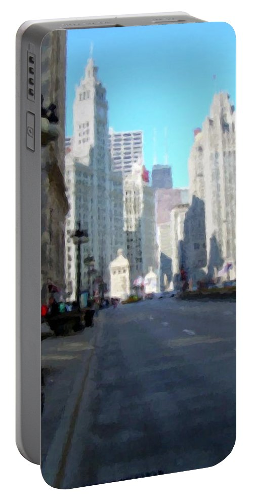 Chicago Portable Battery Charger featuring the digital art Michigan Ave Tall by Anita Burgermeister