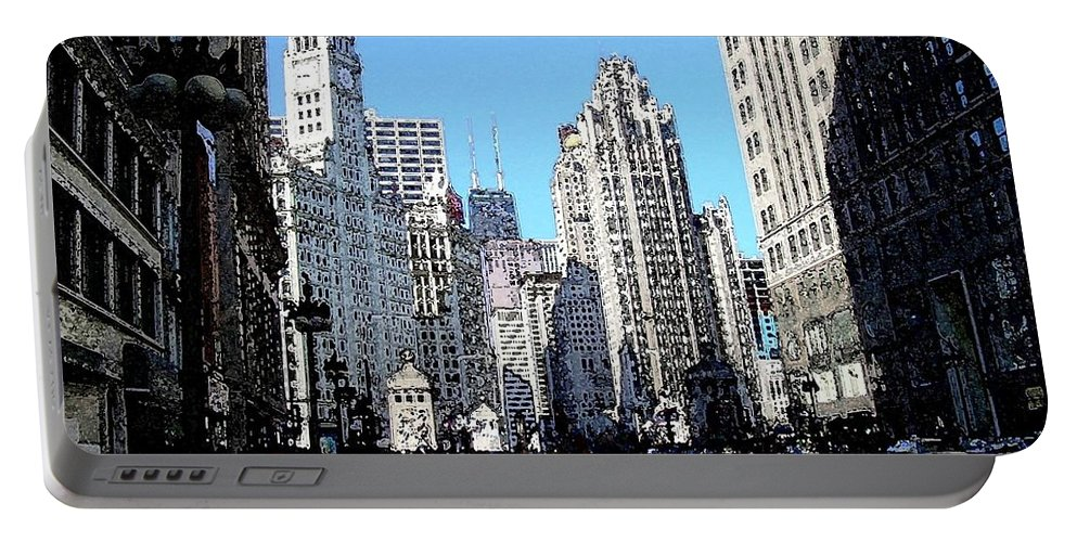 Chicago Portable Battery Charger featuring the digital art Michigan Ave Wide by Anita Burgermeister