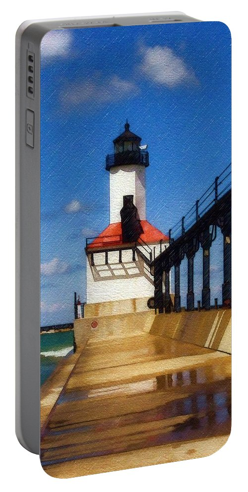 Lighthouse Portable Battery Charger featuring the photograph Michigan City Light 1 by Sandy MacGowan