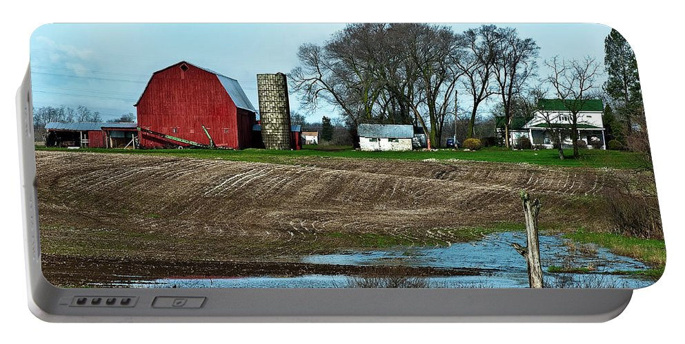 Barn Portable Battery Charger featuring the photograph Michigan Farm by Onyonet Photo Studios
