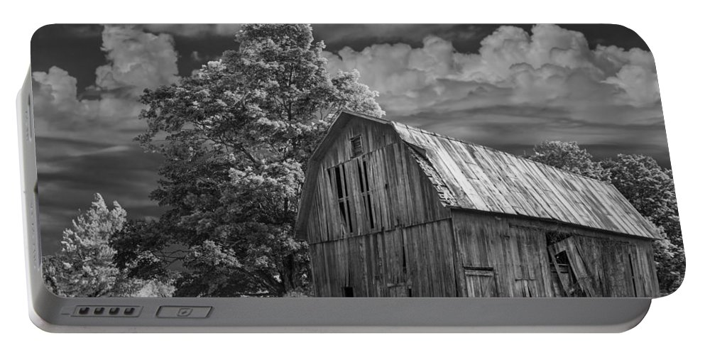 Landscape Portable Battery Charger featuring the photograph Michigan Old Wooden Barn by Randall Nyhof