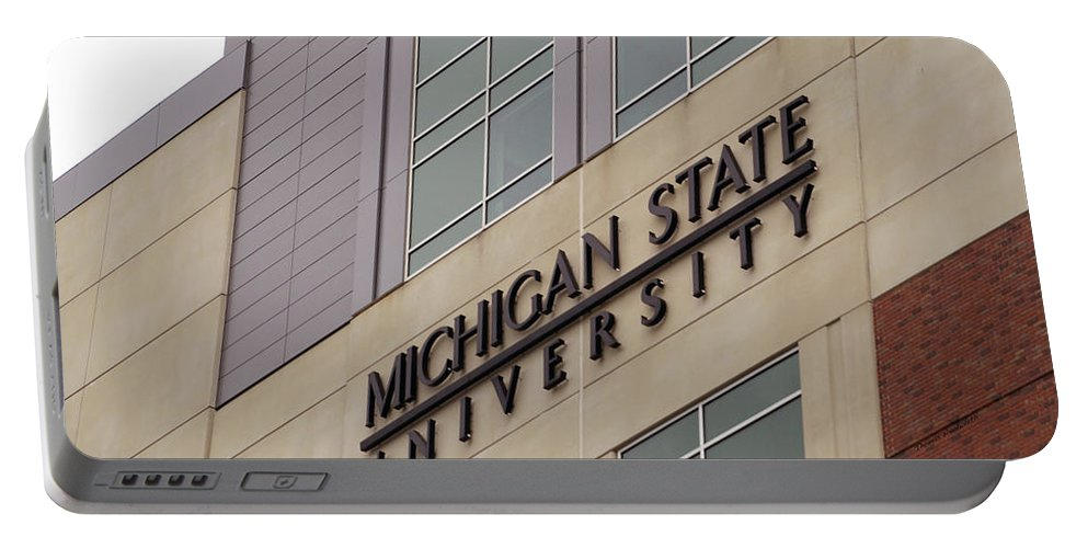 Michigan Portable Battery Charger featuring the photograph Michigan State University Signage 02 by Thomas Woolworth