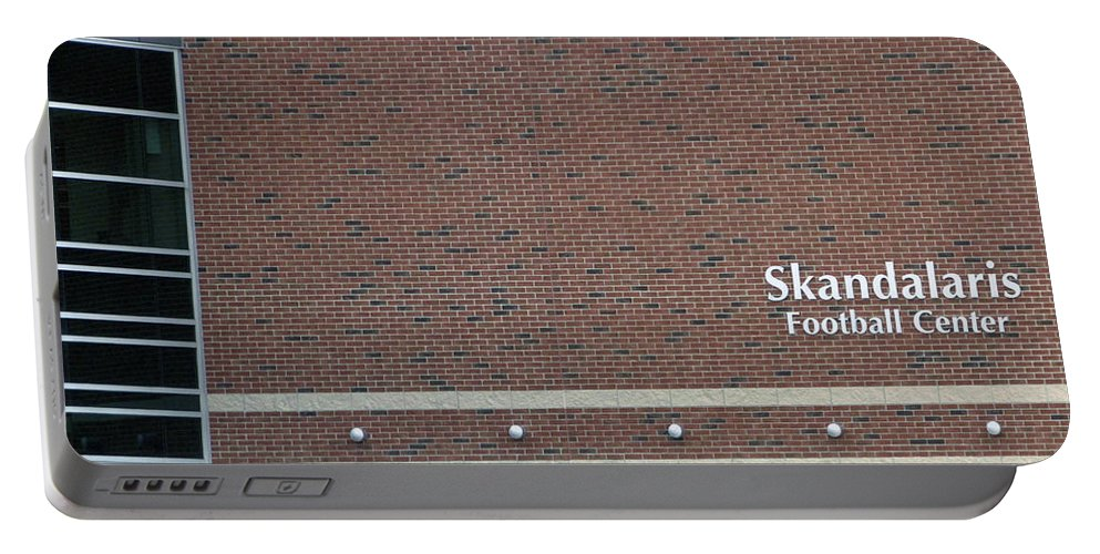 Michigan Portable Battery Charger featuring the photograph Michigan State University Skandalaris Football Center Signage by Thomas Woolworth