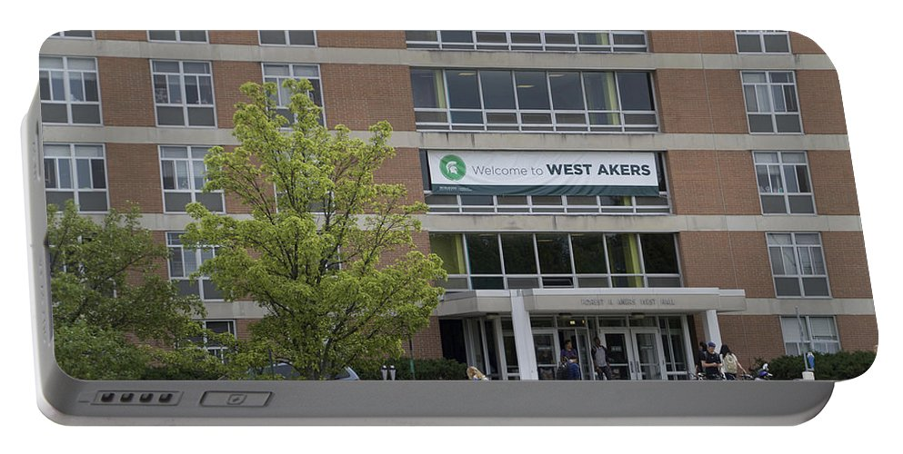 Akers Dorm Portable Battery Charger featuring the photograph Michigan State University Welcome To Akers Signage by Thomas Woolworth