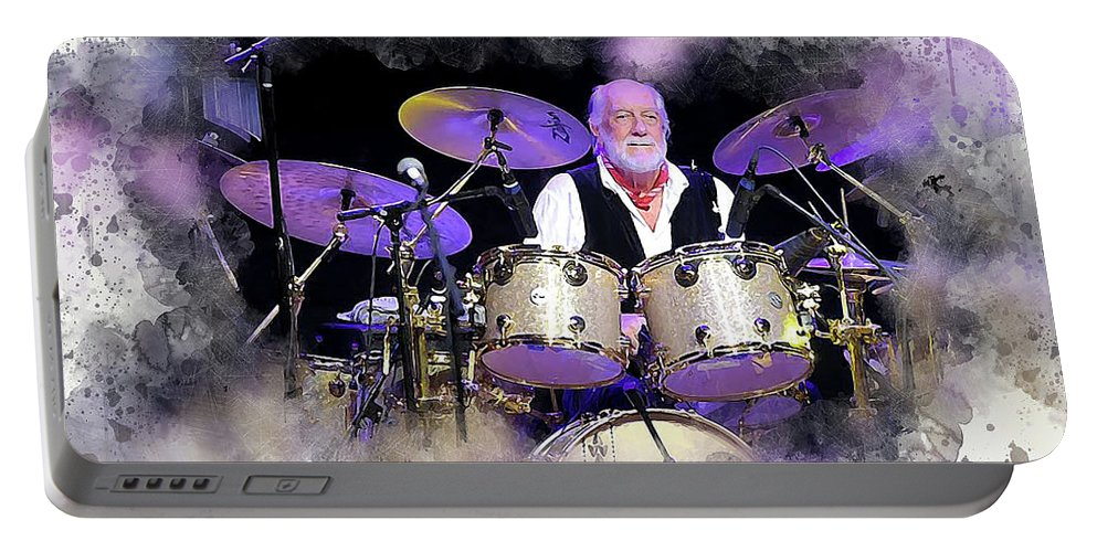Mick Fleetwood Portable Battery Charger featuring the digital art Mick Fleetwood by Karl Knox Images