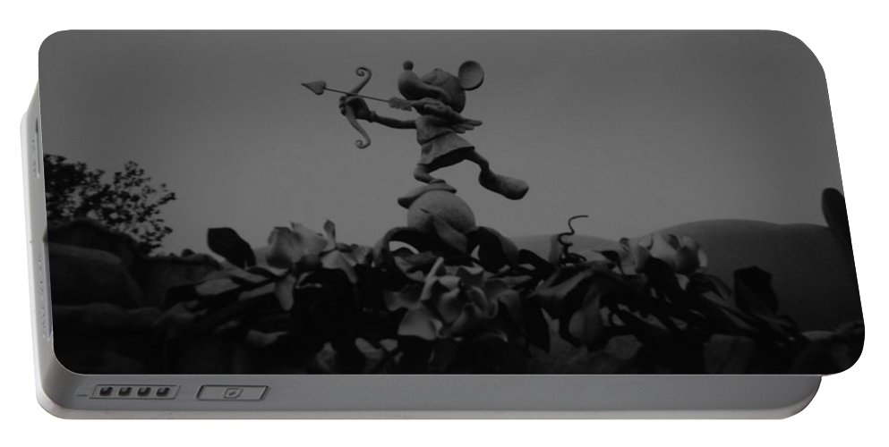 Black And White Portable Battery Charger featuring the photograph Mickey Mouse In Black And White by Rob Hans