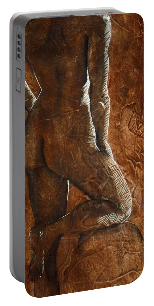 Nude Portable Battery Charger featuring the painting Mickey Xx by Richard Hoedl