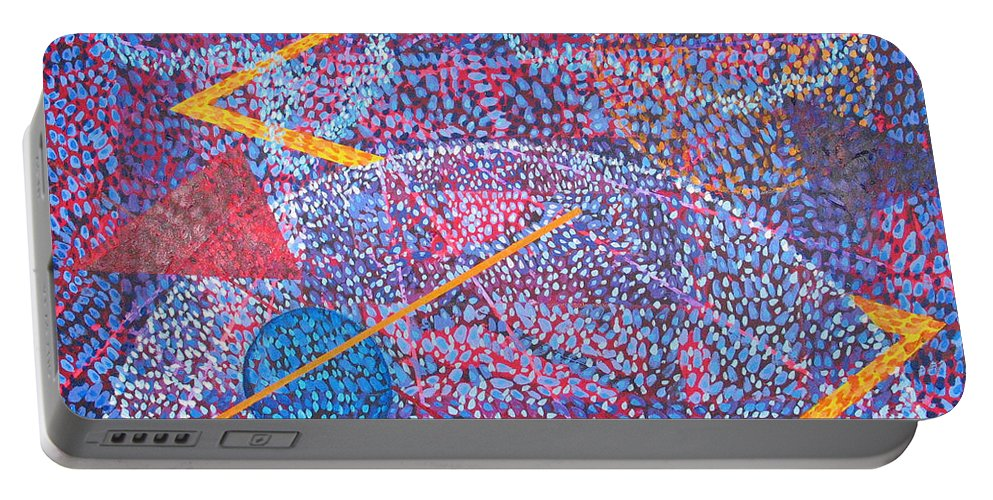 Abstract Portable Battery Charger featuring the painting Microcosm XV by Rollin Kocsis