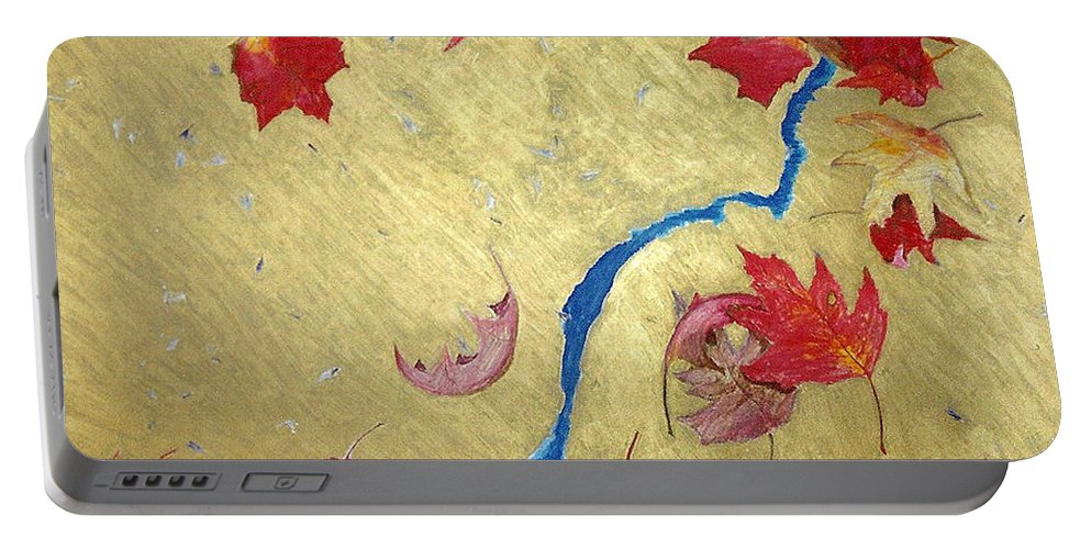Abstract Portable Battery Charger featuring the painting Midas Fall by Steve Karol