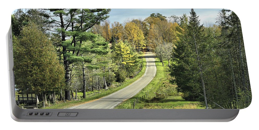 Landscape Portable Battery Charger featuring the photograph Middle Road In Autumn by Deborah Benoit