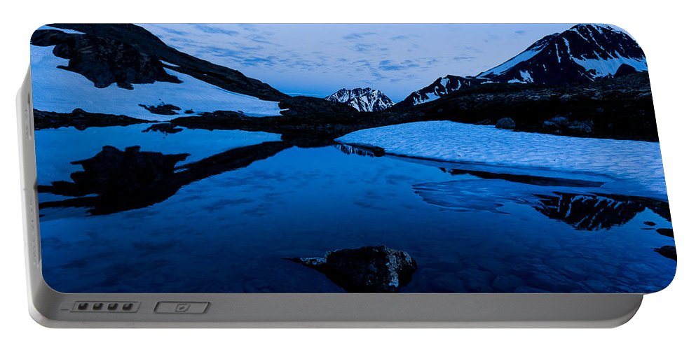 Alaska Portable Battery Charger featuring the photograph Midnight Atop Crow Pass by Tim Newton