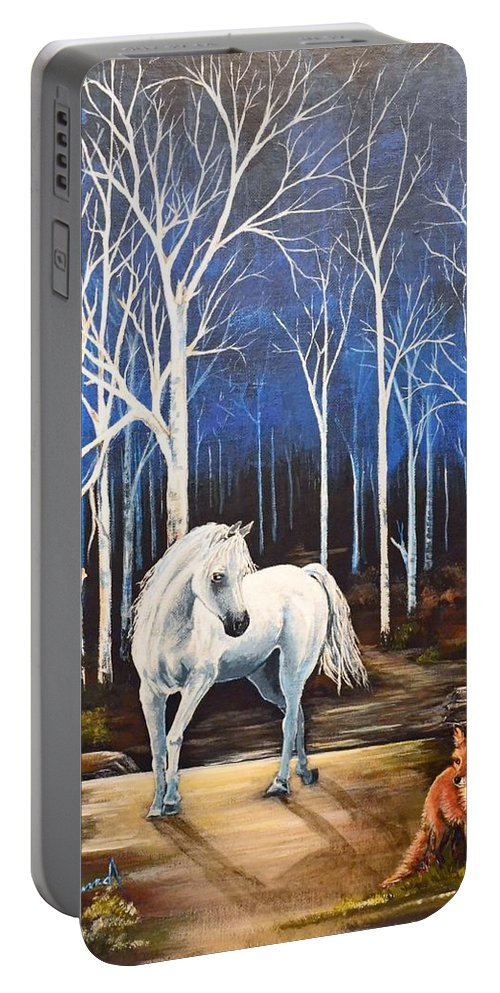 Surreal Portable Battery Charger featuring the painting Midnight Encounter by Stephen Broussard