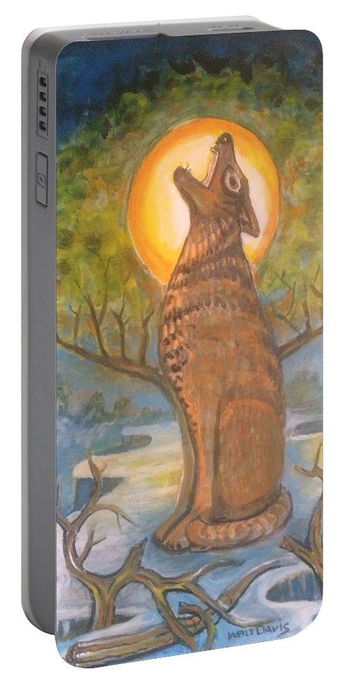 Mountain Majic Wild Life Portable Battery Charger featuring the mixed media Midnight Mountain Majic 3 by Walter M Davis