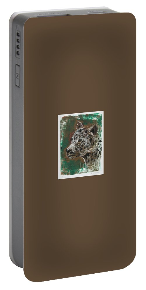 Monotype Portable Battery Charger featuring the mixed media Midnight Prowler by Cori Solomon