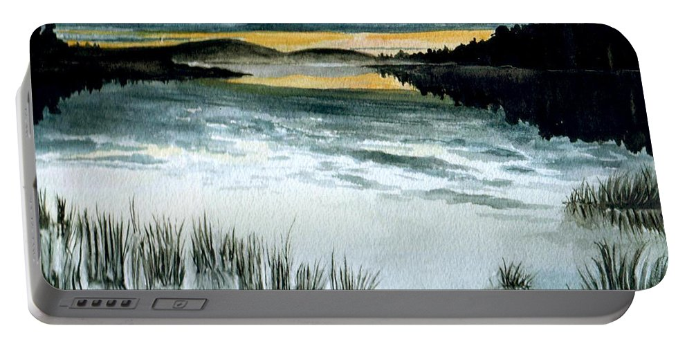 Watercolor Portable Battery Charger featuring the painting Midnight Sun by Brenda Owen
