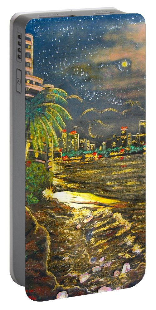 City Lights Portable Battery Charger featuring the painting Midnight Sun by V Boge