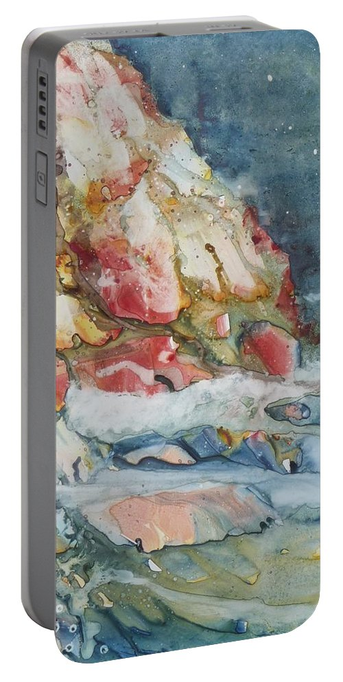 Abstract Portable Battery Charger featuring the painting Midnight Surf by Ruth Kamenev